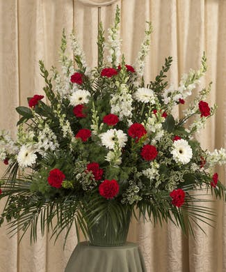 Red and White Funeral Basket