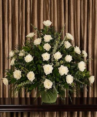 White Rose Funeral Basket
